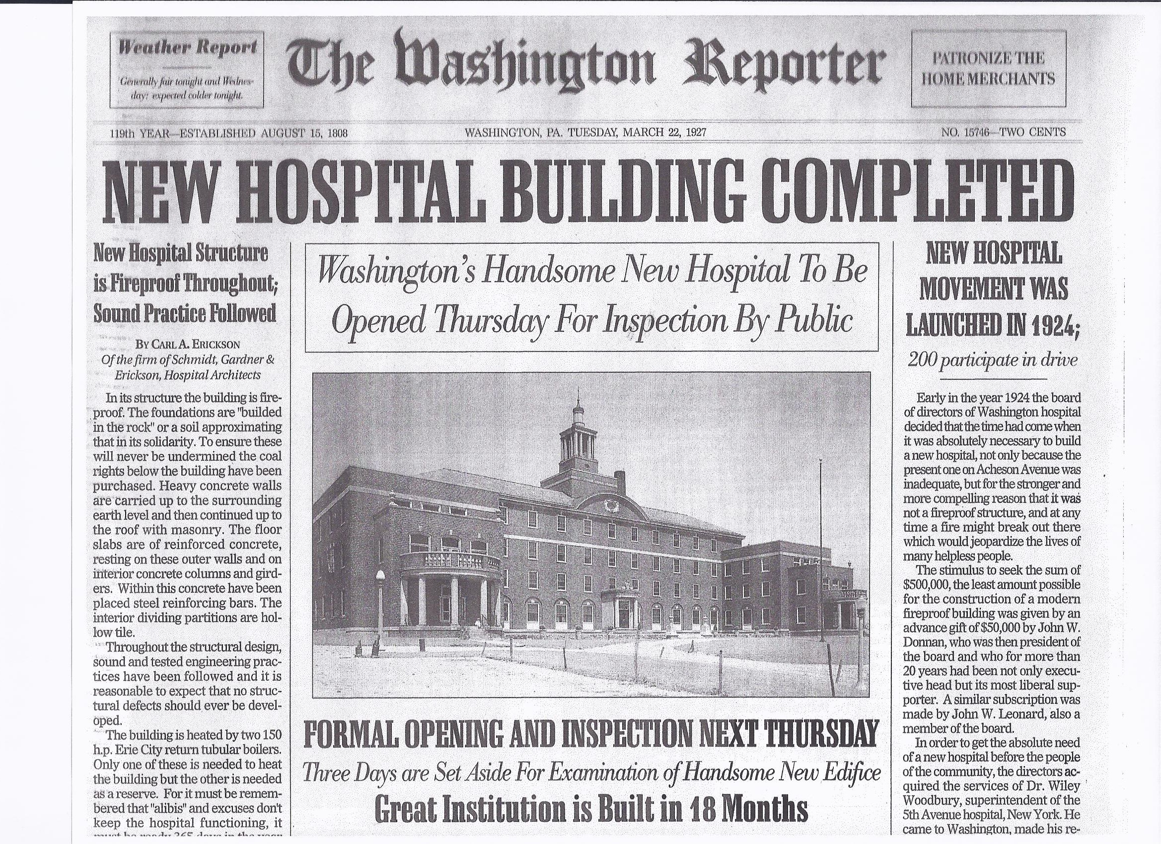 Newspaper from 1927 announcing the completion of the new hospital