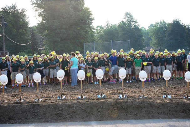 Students of Central Lutheran await the groundbreaking